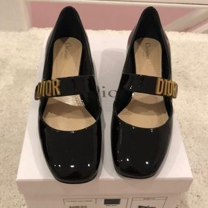 Dior black patent Baby D shoes with box Pristine